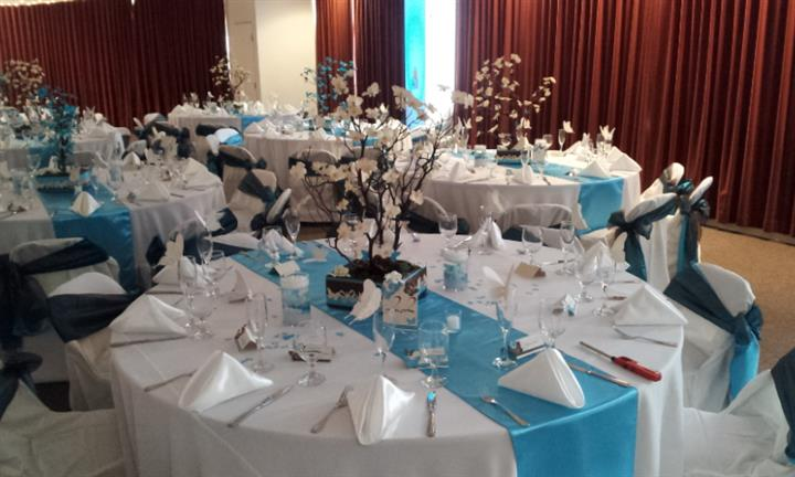 table set up with teal accents