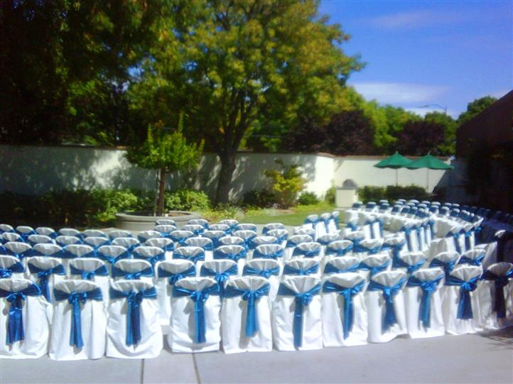outside ceremony with cars with white covers and blue bows