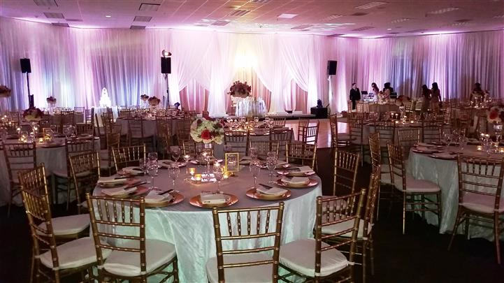 table setting with pink dimmed lights