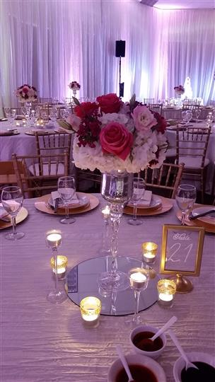 table up close shot with pink and white flowers