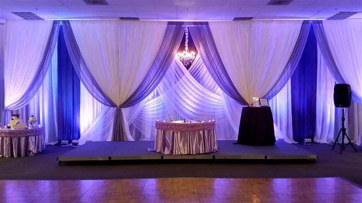 purple and white curtain display