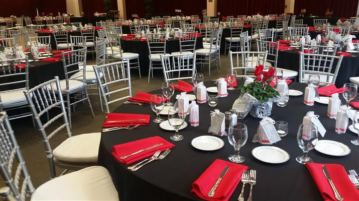 red and black table set up