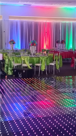 reception area with lime green and pink tableclothes