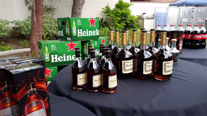 bottles of hennessy lined up