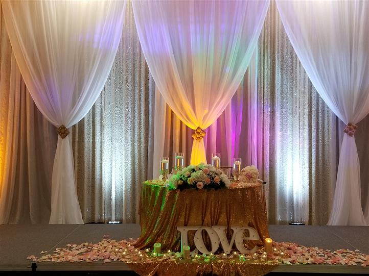 love table setting with a gold light
