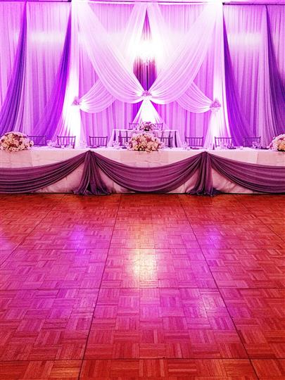 pink and purple lighting for a ceremony