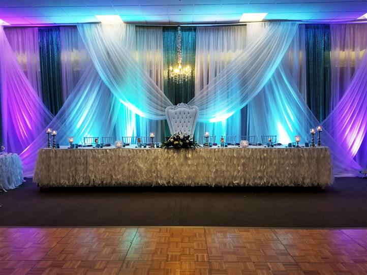 blue lighting behind the table setting for the sweet 16's close friends