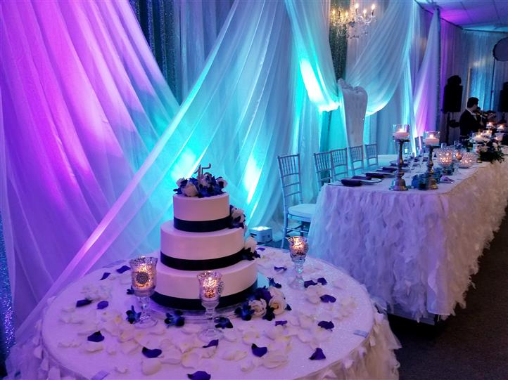 blue and purple lighting in the reception area