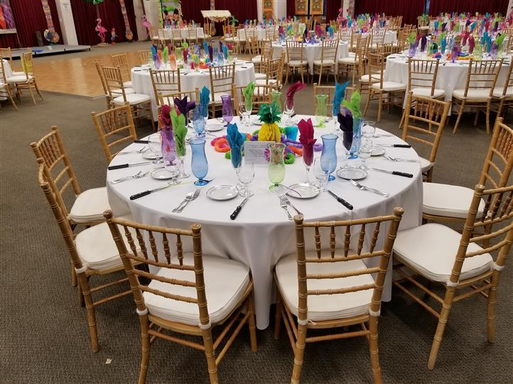 table setting with colorful glasses