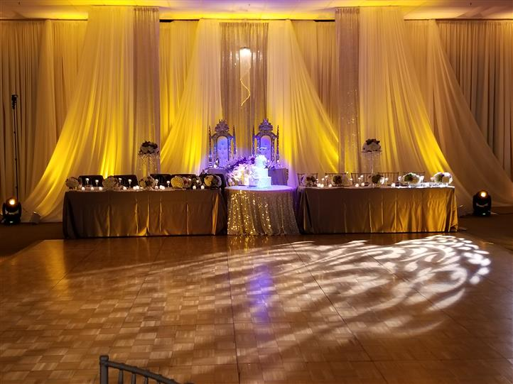 wedding ceremony with gold accents