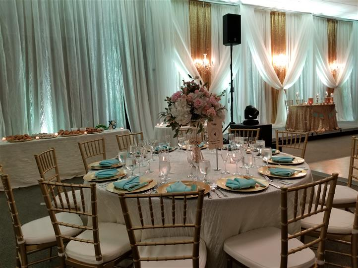 table setting with teal accents