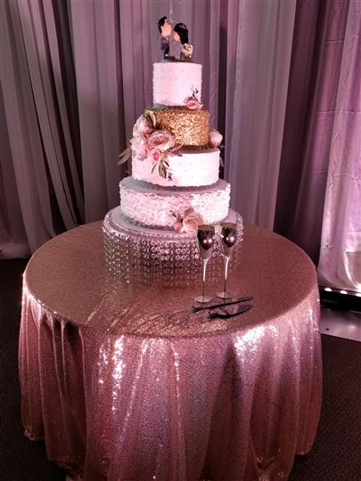 wedding cake with pink and gold details