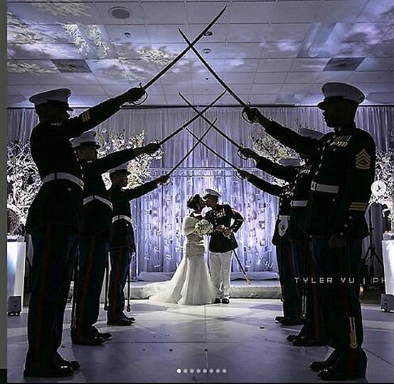 armed forces wedding with the sword arch