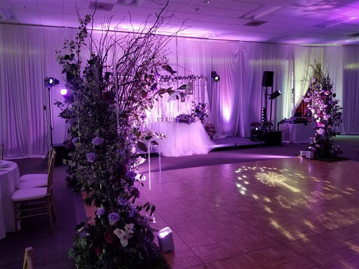 flower decorations next to the dance floor