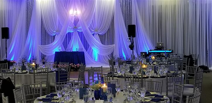 wedding display with white curtains