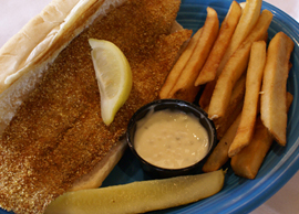 fish and chips (fries) with tartar sauce side