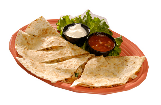 quesdilla with salsa and sour cream side