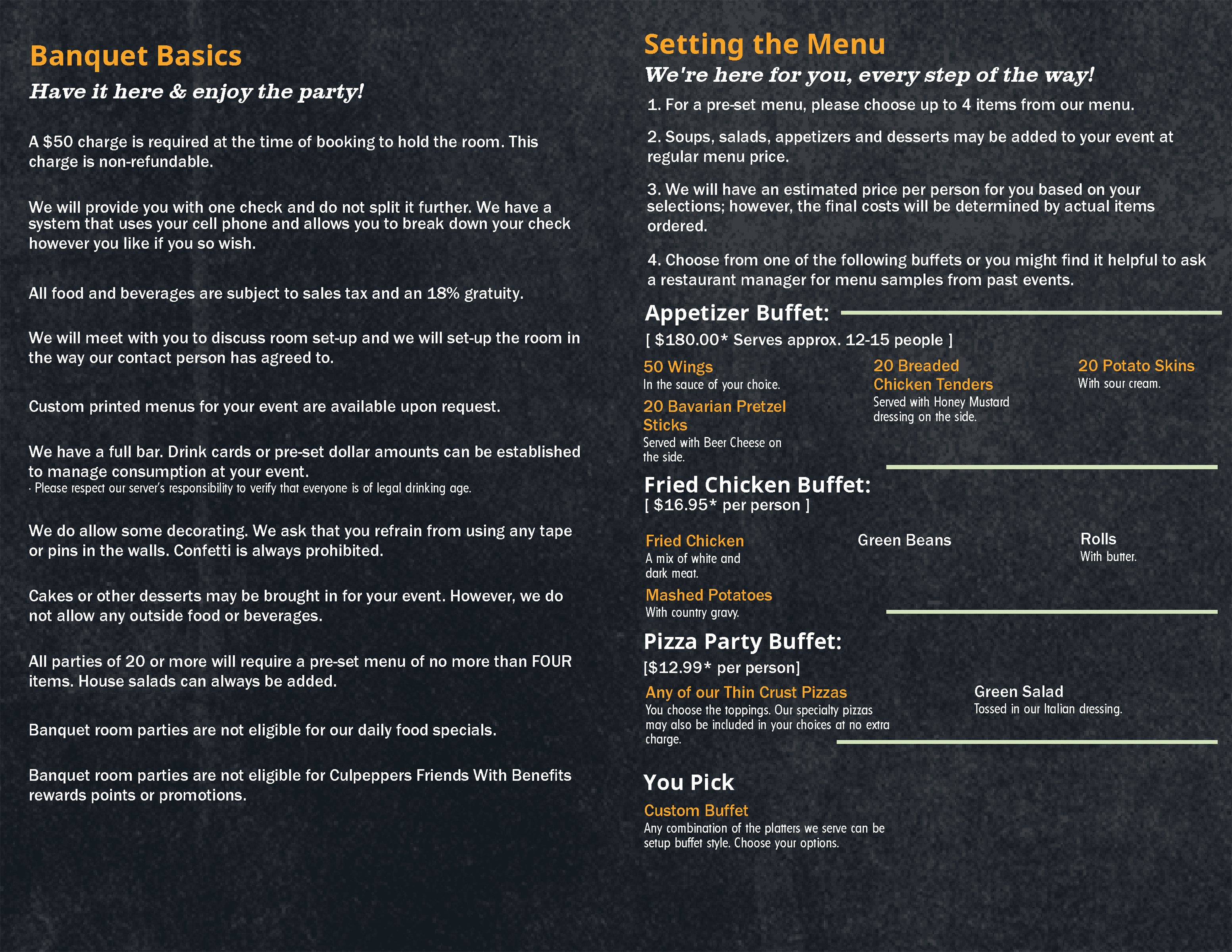 Banquest and Party Menu information flyer