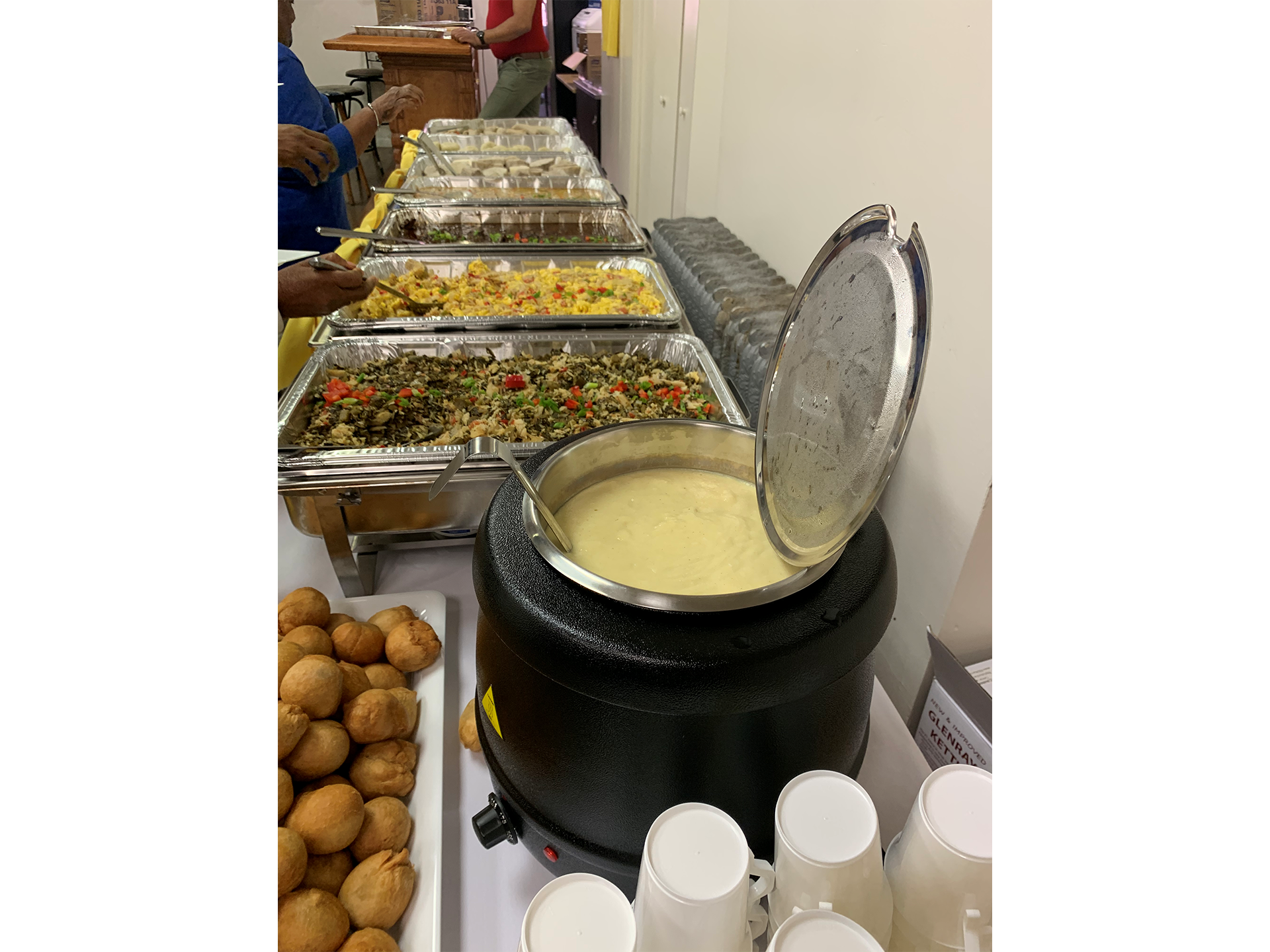 Catering Setup with Hot Dishes on long table