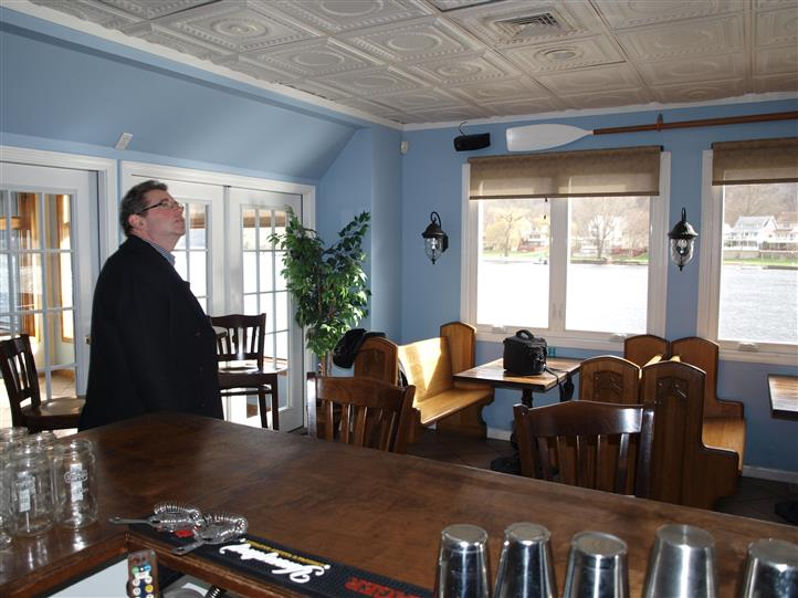 Interior photo of the dining hall next to the bar