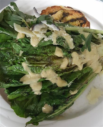 Mixed greens salad with melted cheese on top over grilled bread