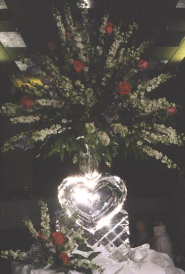 ice sculpture of heart with flowers