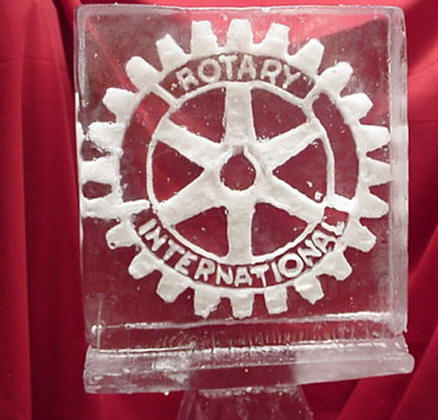 "ice sculpture of ""rotary international"""