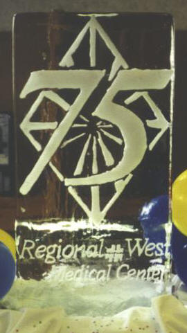 "ice sculpture of ""75 regional west"""