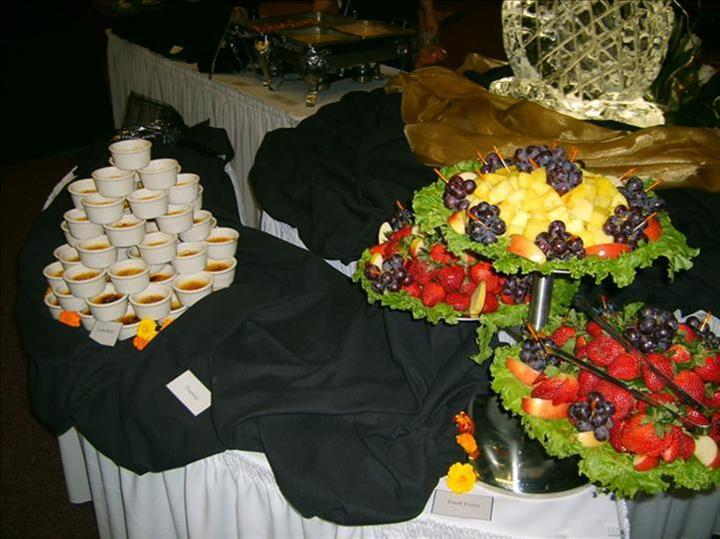 assorted fruit and desserts display