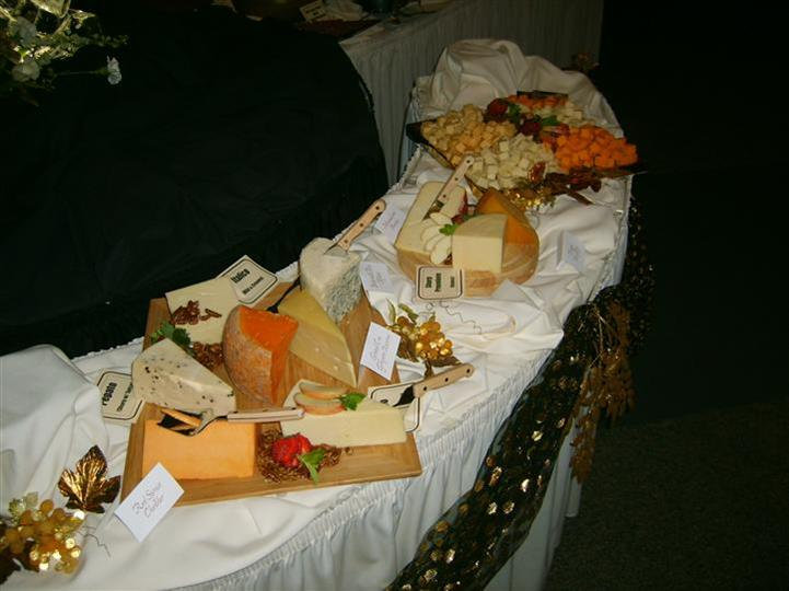 assorted cheese display table