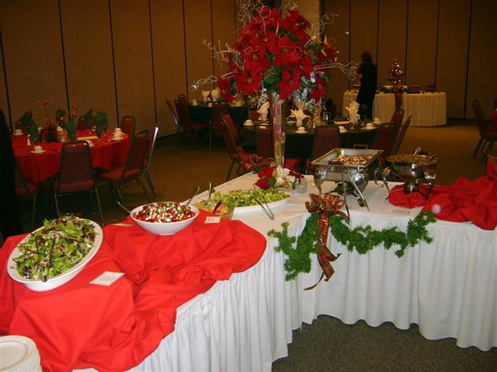 table of catered food trays