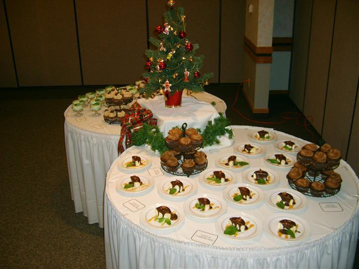dessert tables set for holiday party