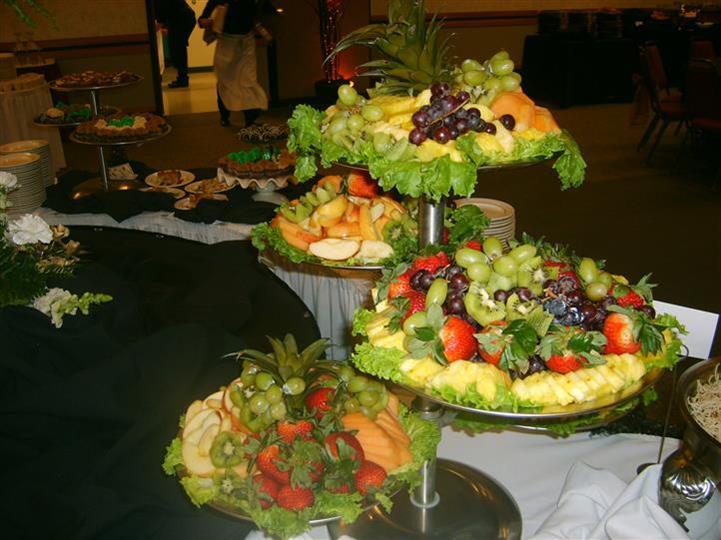 multi-tier assorted fruit display
