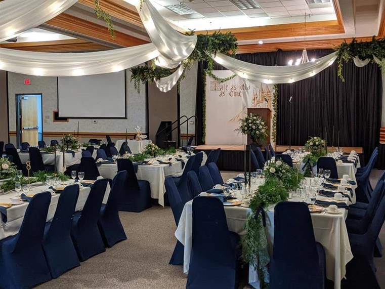interior event space decorated for wedding