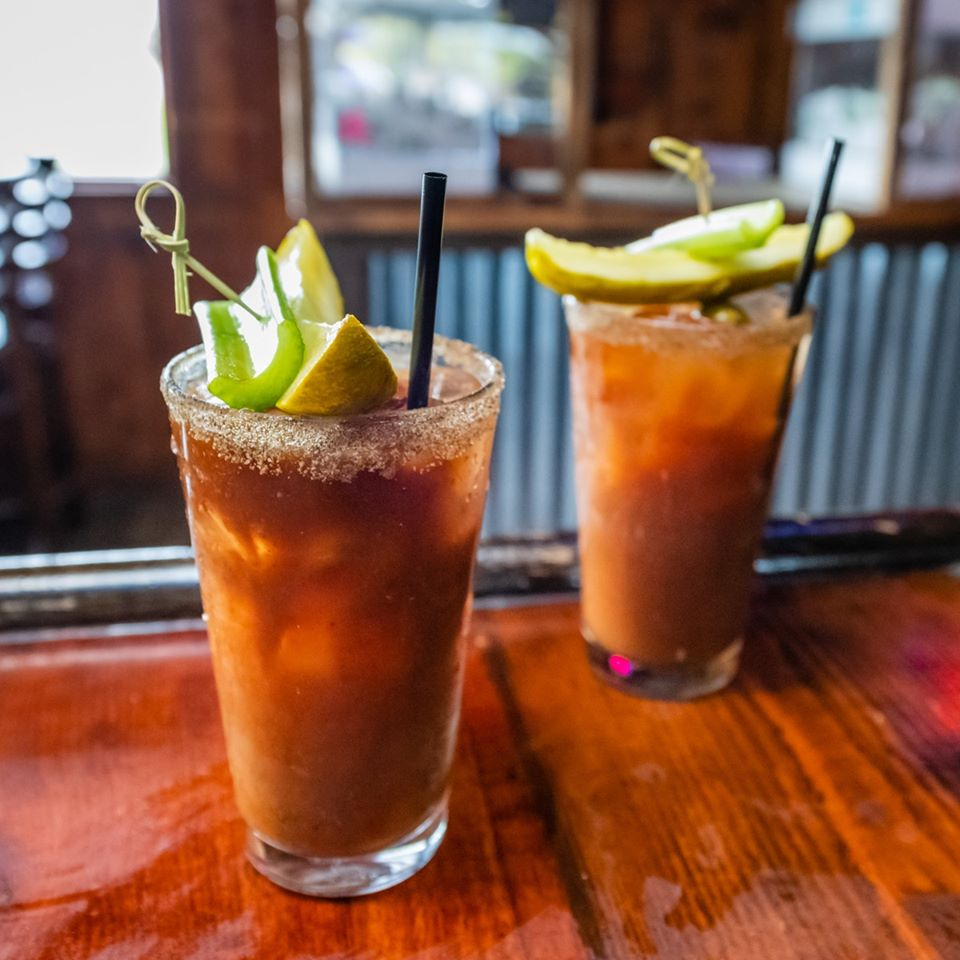 2 bloody mary cocktails on the bar
