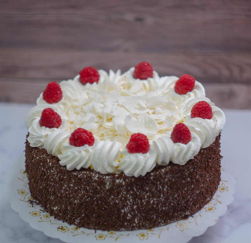 Chocolate cake. With chocolate mousse and raspberry filling.