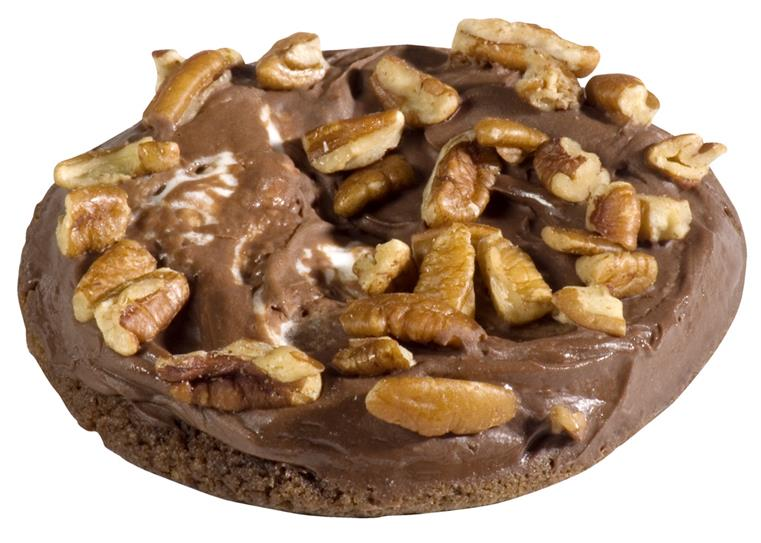 Chocolate cookie with chocolate frosting and pecans