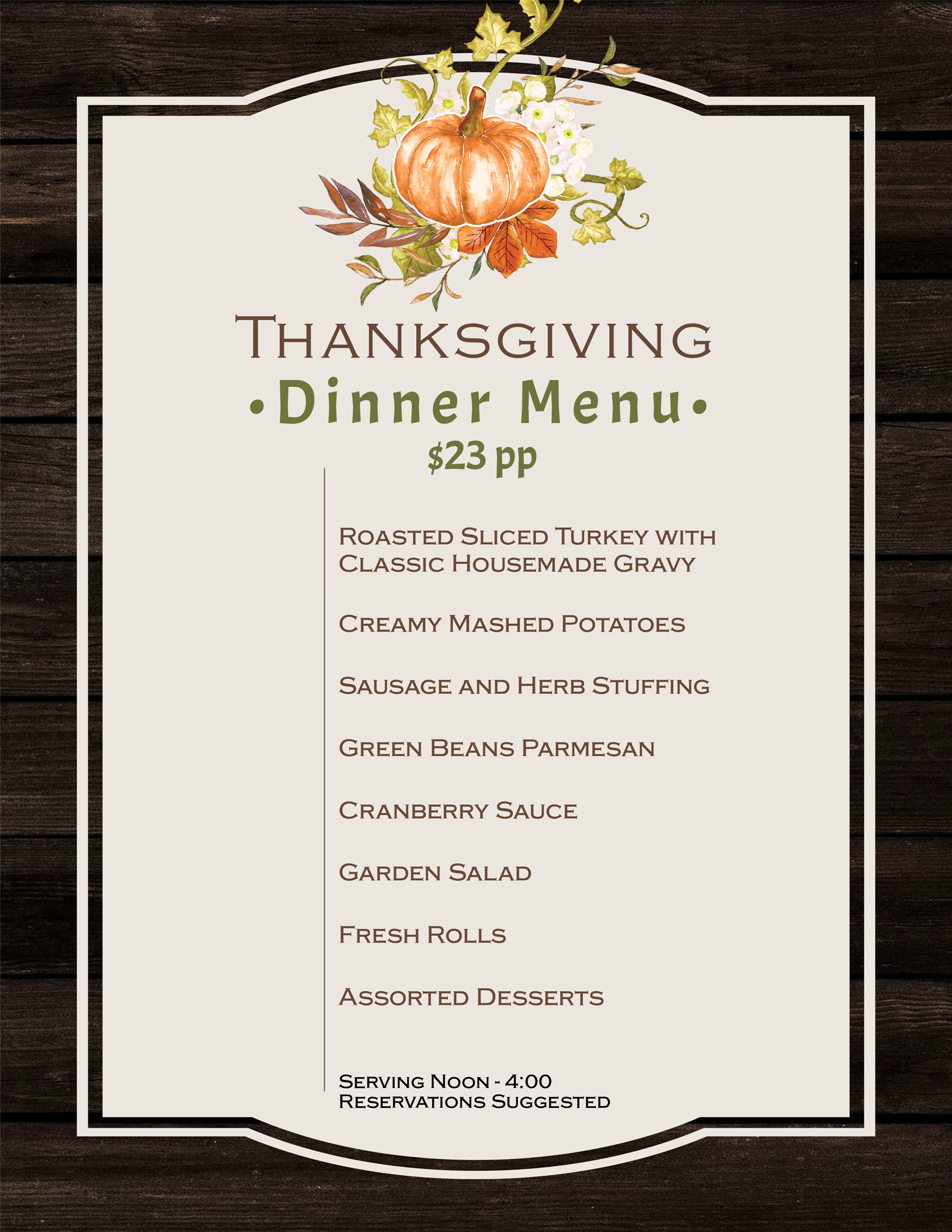 Thanksgiving Menu - View PDF for Readable Version.