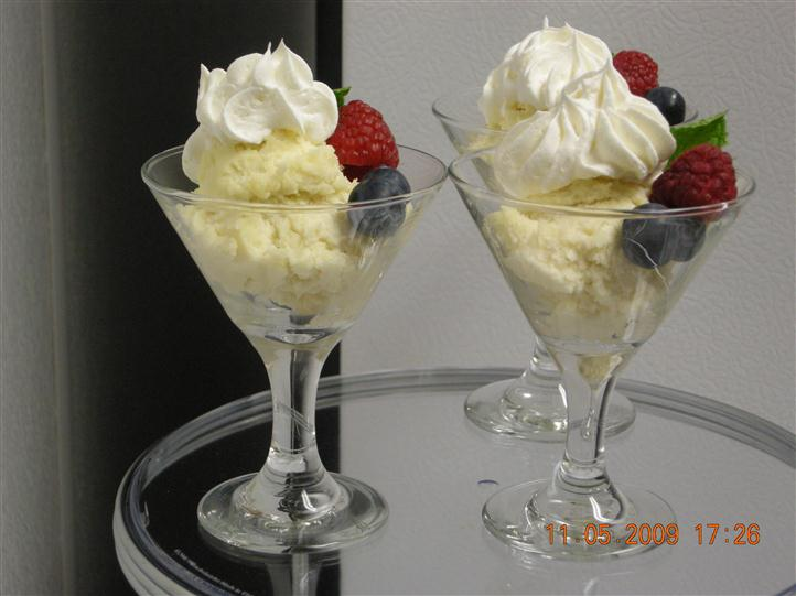 Ice cream topped with whipped cream and fruits