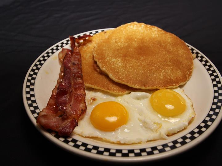 Pancake, eggs, and bacon