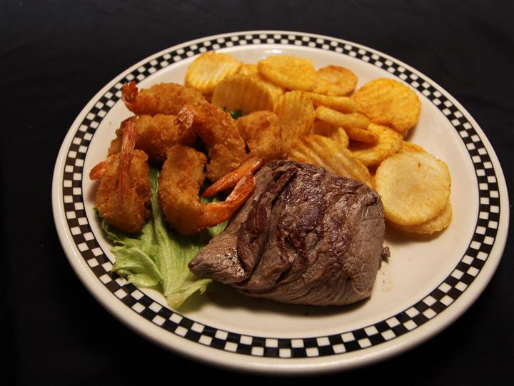 Steak, Shrimp, and chips