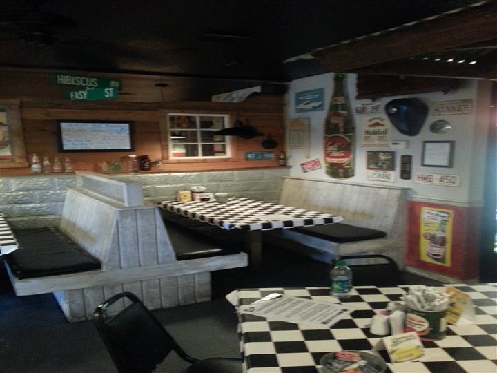 Dining area with checkered tables