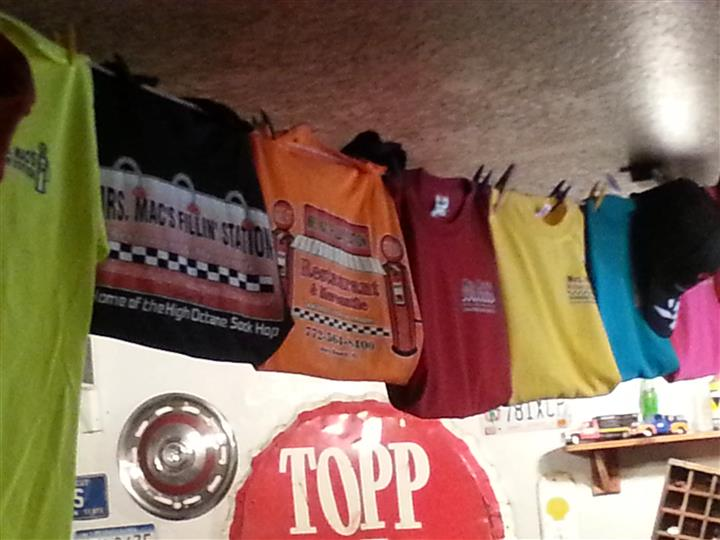 T-Shirts hanging above