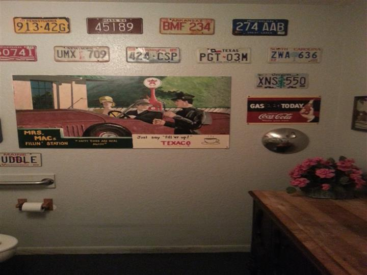 Vintage license plates and poster
