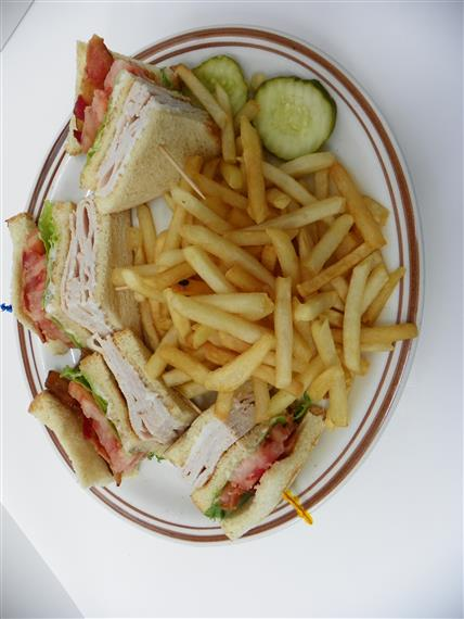 club sandwich with fries