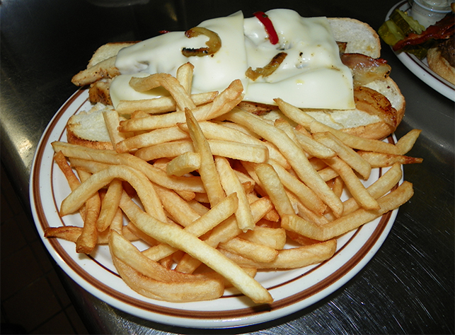 fries with a chicken sandwich