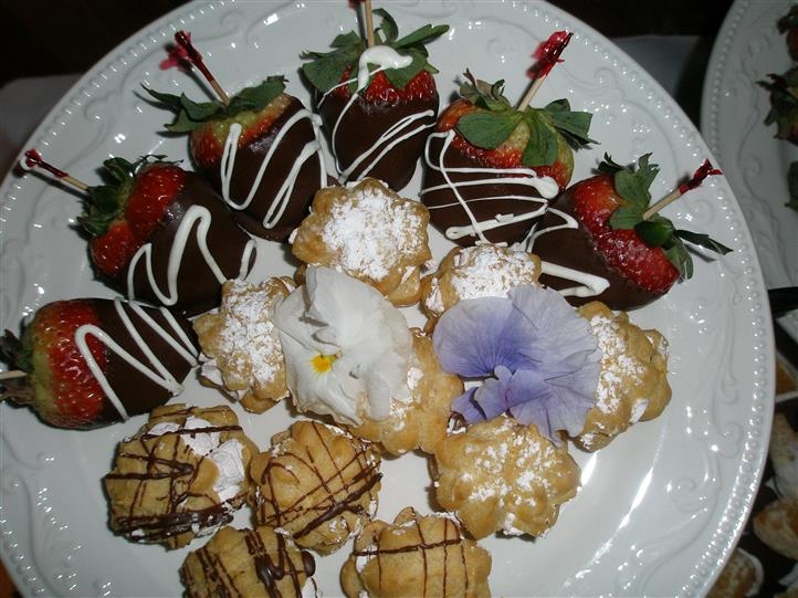 chocolate covered strawberries and puff pastries