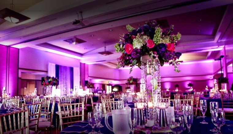Central Park venue, banquet room with colored lighting and covered tables