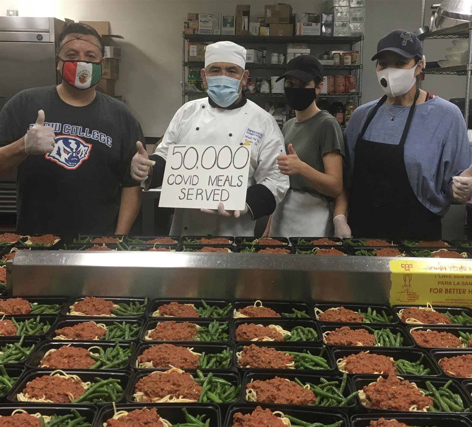 50,000 Covid 19 meals served to the patients and staff at the Fairplex Hotel/Hospital Pomona
