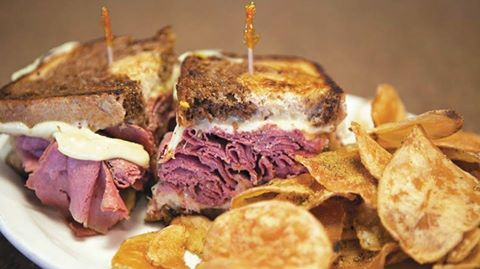 Reuben: Corned beef, sauerkraut, Swiss & 1000 island dressing. Served closed or open faced.